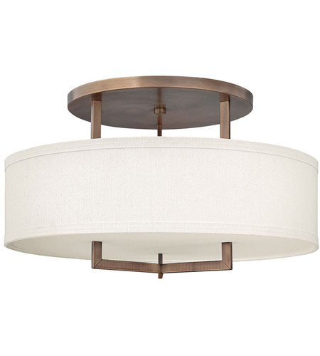 Hinkley 3211BR Hampton 3 Light 26 inch Brushed Bronze Foyer Semi-Flush Mount Ceiling Light in Soft Linen Hardback Shade, Incandescent photo