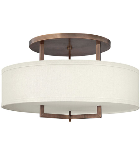Hinkley 3211BR-LED Hampton LED 26 inch Brushed Bronze Semi Flush Ceiling Light in Soft Linen Hardback Shade photo