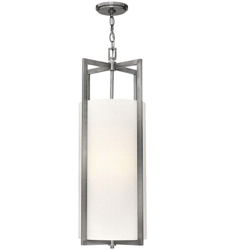 Hinkley 3212AN Hampton 4 Light 12 inch Antique Nickel Foyer Pendant Ceiling Light in Soft Linen Hardback Shade, Incandescent, Off-White Linen Drum Shade photo