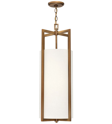 Hinkley 3212BR Hampton 4 Light 12 inch Brushed Bronze Foyer Pendant Ceiling Light in Soft Linen Hardback Shade, Incandescent, Off-White Linen Drum Shade photo