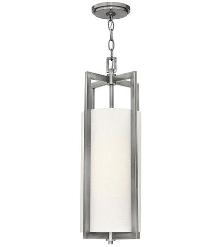 Hinkley 3217AN Hampton 1 Light 9 inch Antique Nickel Mini-Pendant Ceiling Light in Incandescent, Off-White Linen Drum Shade photo