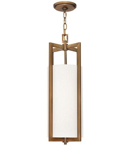 Hinkley 3217BR Hampton 1 Light 9 inch Brushed Bronze Mini-Pendant Ceiling Light in Incandescent, Off-White Linen Drum Shade photo