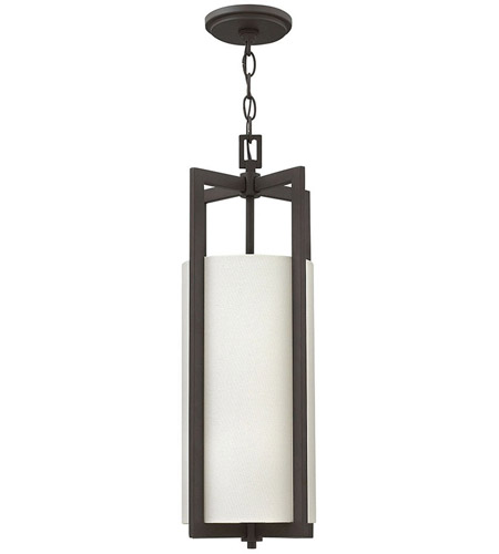 Hinkley 3217KZ Hampton 1 Light 9 inch Buckeye Bronze Mini-Pendant Ceiling Light in Incandescent, Off-White Linen Hardback Shade photo