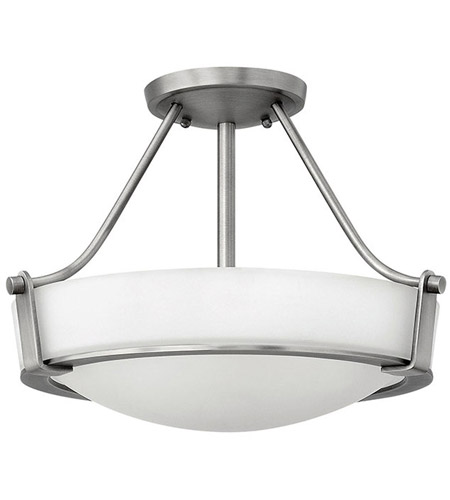 Hathaway Led 16 Inch Antique Nickel Foyer Semi Flush Mount Ceiling Light In Etched