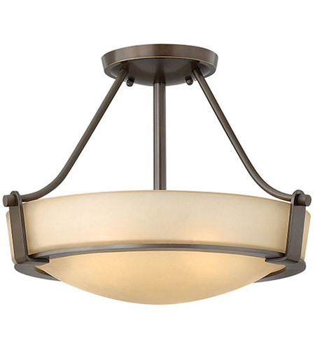 Hinkley 3220OB Hathaway 3 Light 16 inch Olde Bronze Foyer Semi-Flush Mount Ceiling Light in Amber Etched, Incandescent photo
