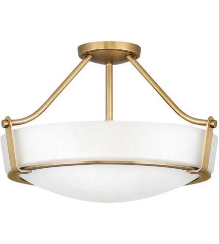 Hathaway 4 Light 21 Inch Heritage Brass Semi Flush Mount Foyer Light Ceiling Light