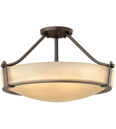 Hathaway Led 21 Inch Olde Bronze Foyer Semi Flush Mount Ceiling Light In Etched Amber
