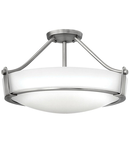Hinkley 3221AN-LED Hathaway LED 21 inch Antique Nickel Semi Flush Ceiling Light in Etched photo