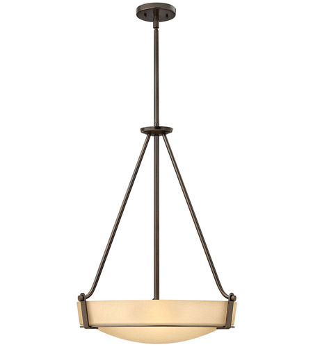 Hinkley 3222OB Hathaway 4 Light 21 inch Olde Bronze Hanging Foyer Ceiling Light in Amber Etched, Incandescent photo