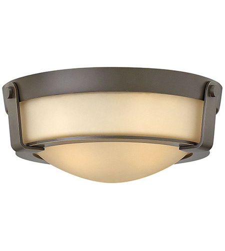 Hinkley 3223OB Hathaway 2 Light 13 inch Olde Bronze Flush Mount Ceiling Light in Etched Amber, Incandescent photo