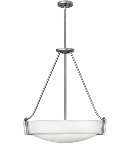 Hinkley 3224AN Hathaway 5 Light 27 inch Antique Nickel Hanging Foyer Ceiling Light in Etched, Incandescent photo