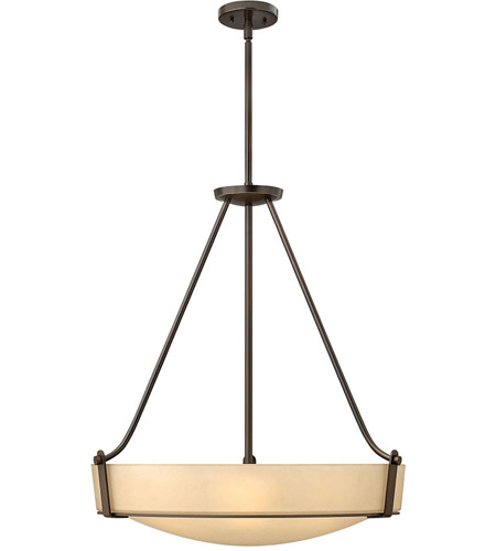 Hinkley 3224OB Hathaway 5 Light 27 inch Olde Bronze Hanging Foyer Ceiling Light in Amber Etched, Incandescent photo