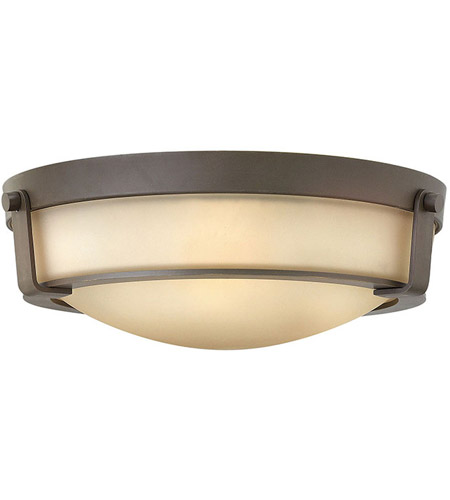 Hinkley 3225OB-LED Hathaway LED 16 inch Olde Bronze Foyer Flush Mount Ceiling Light in Etched Amber, Etched Amber Glass photo