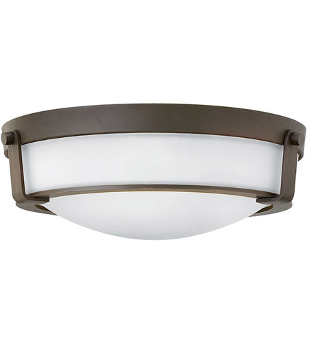 Hinkley 3225OB-WH-LED Hathaway LED 16 inch Olde Bronze Foyer Flush Mount Ceiling Light in Etched, Etched Glass photo