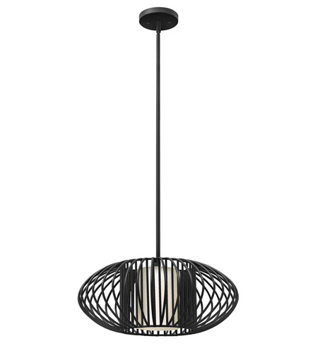 Hinkley 32557BLK-GU24 Vibe 1 Light 19 inch Black Mini-Pendant Ceiling Light in GU24, Etched Opal Glass photo