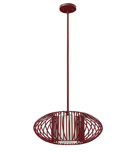 Hinkley 32557CRM-GU24 Vibe 1 Light 19 inch Crimson Mini-Pendant Ceiling Light in GU24, Etched Opal Glass photo