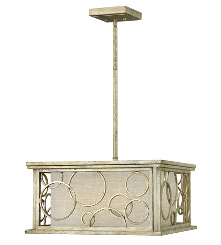 Hinkley 3285SL Flourish 3 Light 18 inch Silver Leaf Chandelier Ceiling Light, Metallic Linen Shade photo