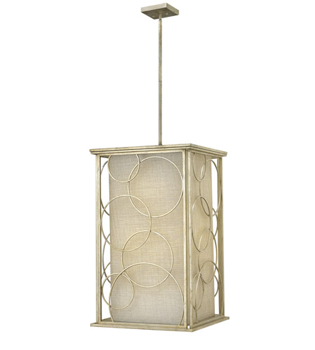 Hinkley 3286SL Flourish 6 Light 20 inch Silver Leaf Foyer Ceiling Light, Metallic Linen Shade photo