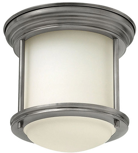 Hinkley 3300AN Hadley 1 Light 8 inch Antique Nickel Foyer Flush Mount Ceiling Light in Etched Opal, Etched Opal Glass photo