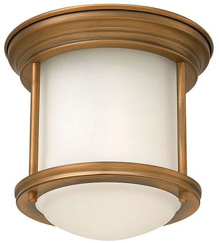 Hinkley 3300BR Hadley 1 Light 8 inch Brushed Bronze Foyer Flush Mount Ceiling Light in Etched Opal, Etched Opal Glass photo