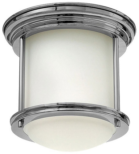 Hinkley 3300CM Hadley 1 Light 8 inch Chrome Foyer Flush Mount Ceiling Light in Etched Opal, Etched Opal Glass photo