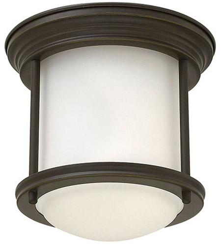 Hinkley 3300OZ Hadley 1 Light 8 inch Oil Rubbed Bronze Flush Mount Ceiling Light in Incandescent, Etched Opal Glass photo