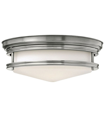 Hinkley 3301AN Hadley 3 Light 14 inch Antique Nickel Flush Mount Ceiling Light in Incandescent, Etched Opal Glass photo