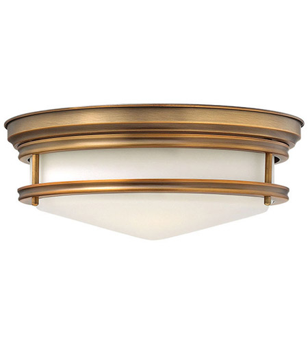Hinkley 3301BR Hadley 3 Light 14 inch Brushed Bronze Foyer Flush Mount Ceiling Light in Incandescent, Etched Opal Glass photo
