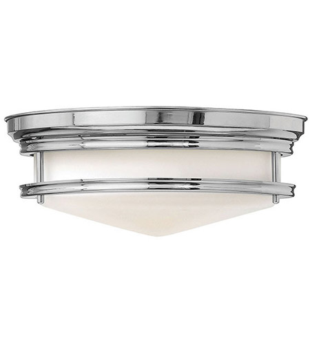 Hinkley 3301CM Hadley 3 Light 14 inch Chrome Flush Mount Ceiling Light in Incandescent, Etched Opal Glass photo