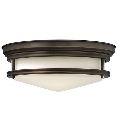 Hinkley 3301OZ Hadley 3 Light 14 inch Oil Rubbed Bronze Foyer Flush Mount Ceiling Light in Incandescent, Etched Opal Glass photo