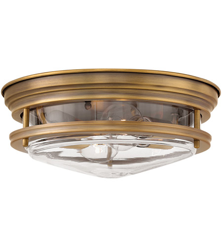 Hadley 2 Light 12 Inch Brushed Bronze Foyer Flush Mount Ceiling In Incandescent Clear