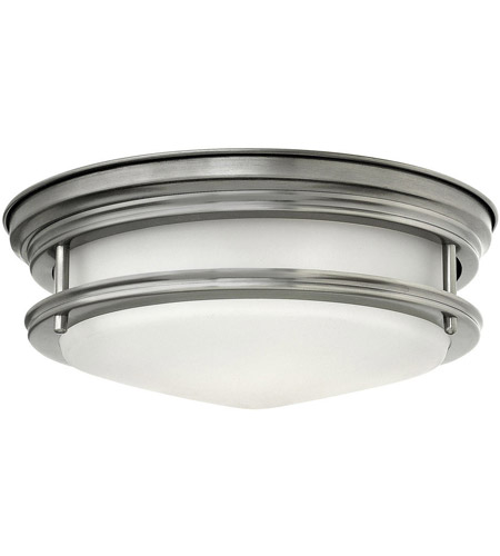 Hinkley 3302AN Hadley 2 Light 12 inch Antique Nickel Flush Mount Ceiling Light in Incandescent, Etched Opal, Etched Opal Glass photo