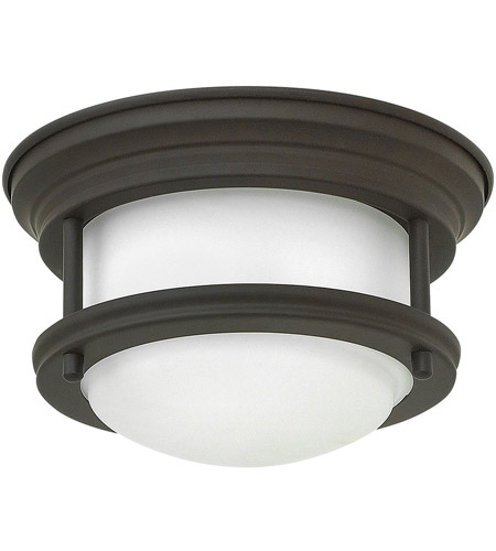 Hinkley 3308OZ Hadley LED 8 inch Oil Rubbed Bronze Foyer Flush Mount Ceiling Light in Dry Rated, Etched Opal Glass photo