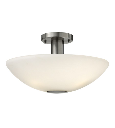 Hinkley 3341BN Camden 3 Light 16 inch Brushed Nickel Semi Flush Ceiling Light in Etched Painted White Inside, Incandescent photo