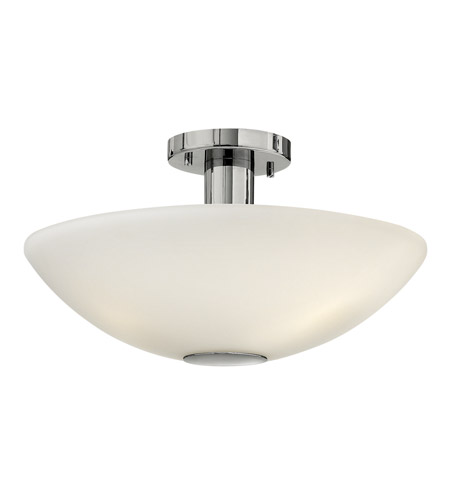 Hinkley 3341CM Camden 3 Light 16 inch Chrome Semi Flush Ceiling Light in Etched Painted White Inside, Incandescent photo