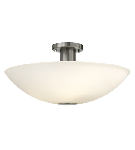 Hinkley 3342BN Camden 4 Light 20 inch Brushed Nickel Semi Flush Ceiling Light in Etched Painted White Inside, Incandescent photo