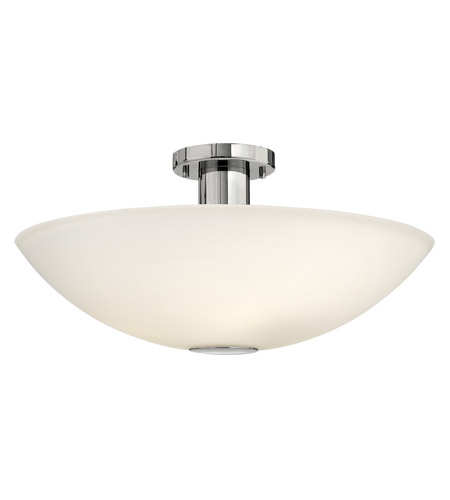 Hinkley 3342CM Camden 4 Light 20 inch Chrome Semi Flush Ceiling Light in Etched Painted White Inside, Incandescent photo