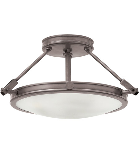 Hinkley 3381AN Collier 3 Light 17 inch Antique Nickel Foyer Semi-Flush Mount Ceiling Light in Incandescent photo