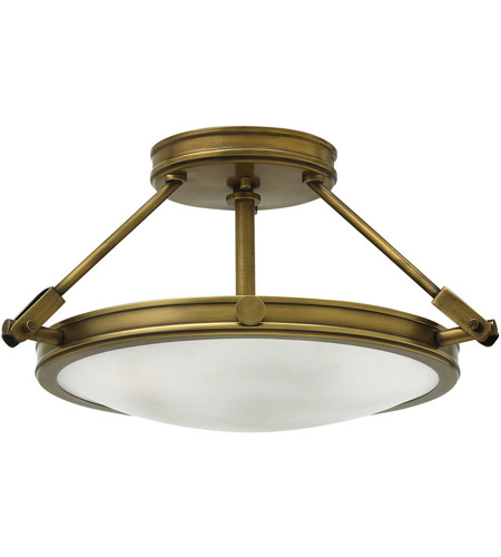 Hinkley 3381HB Collier 3 Light 17 inch Heritage Brass Foyer Semi-Flush Mount Ceiling Light in Incandescent, Etched Opal Glass photo