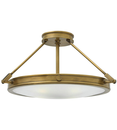 Hinkley 3382HB Collier 4 Light 22 inch Heritage Brass Foyer Semi-Flush Mount Ceiling Light in Incandescent, Etched Opal Glass photo