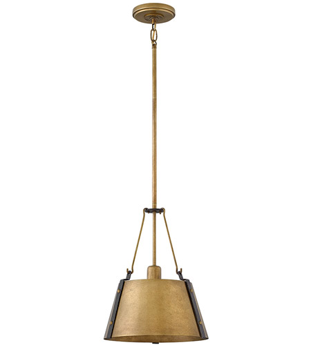 Hinkley 3397RS Cartwright 1 Light 12 inch Rustic Brass Pendant Ceiling Light photo
