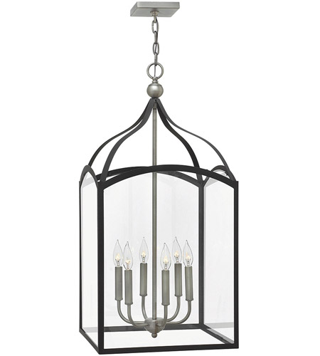 Hinkley 3414DZ Clarendon 6 Light 16 inch Aged Zinc Foyer Light Ceiling Light, Clear Glass photo