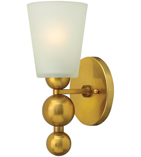 Hinkley 3440VS Zelda 1 Light 6 inch Vintage Brass Wall Sconce Wall Light, Etched Glass photo