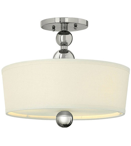 Hinkley 3441PN Zelda 3 Light 15 inch Polished Nickel Semi Flush Ceiling Light in Incandescent, Etched Glass photo