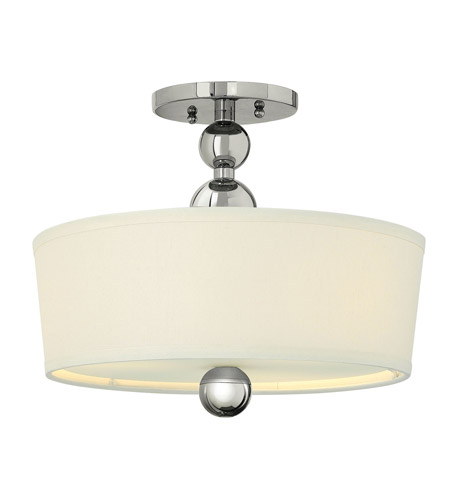 Hinkley 3441PN-GU24 Zelda 3 Light 15 inch Polished Nickel Semi-Flush Mount Ceiling Light in GU24, Off-White Linen Shade photo