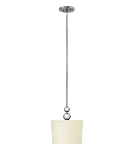 Hinkley 3442PN-LED Zelda 1 Light 11 inch Polished Nickel Mini-Pendant Ceiling Light in LED, Off-White Linen Shade photo