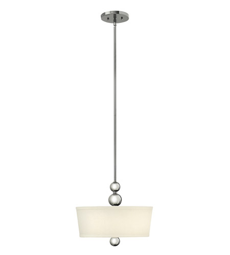 Hinkley 3443PN-LED Zelda 1 Light 15 inch Polished Nickel Foyer Ceiling Light in LED, Off-White Linen Shade photo