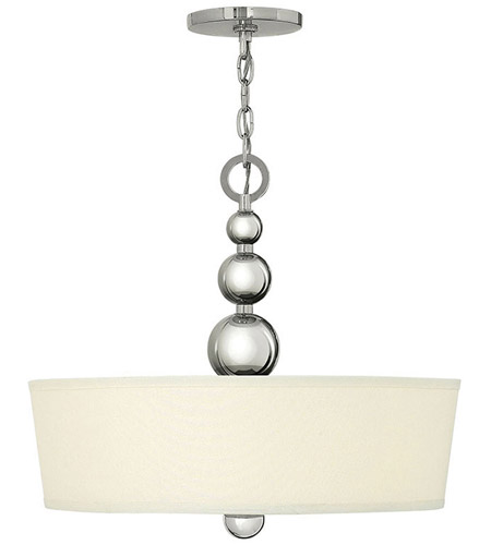 Hinkley 3444PN Zelda 3 Light 20 inch Polished Nickel Inverted Pendant Ceiling Light, Etched Glass photo