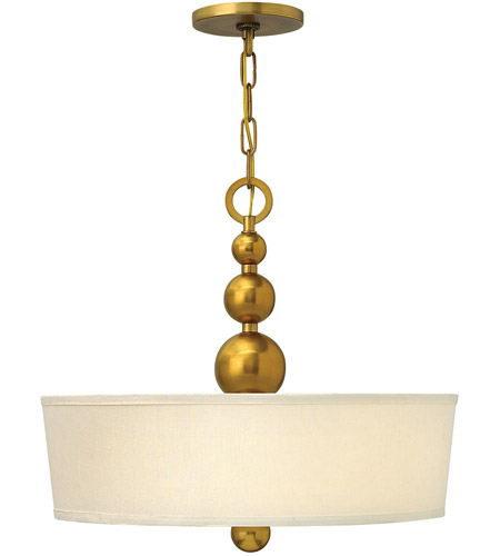 Hinkley 3444VS Zelda 3 Light 20 inch Vintage Brass Foyer Ceiling Light, Etched Glass  photo