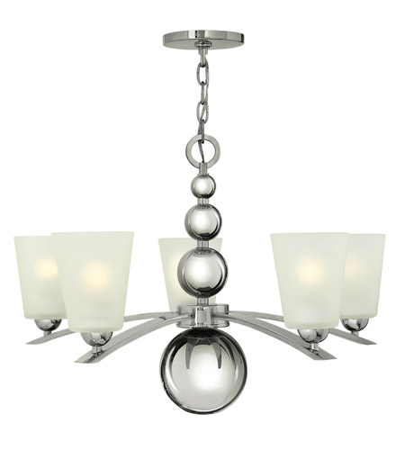 Hinkley 3445PN Zelda 5 Light 27 inch Polished Nickel Chandelier Ceiling Light, Etched Glass photo